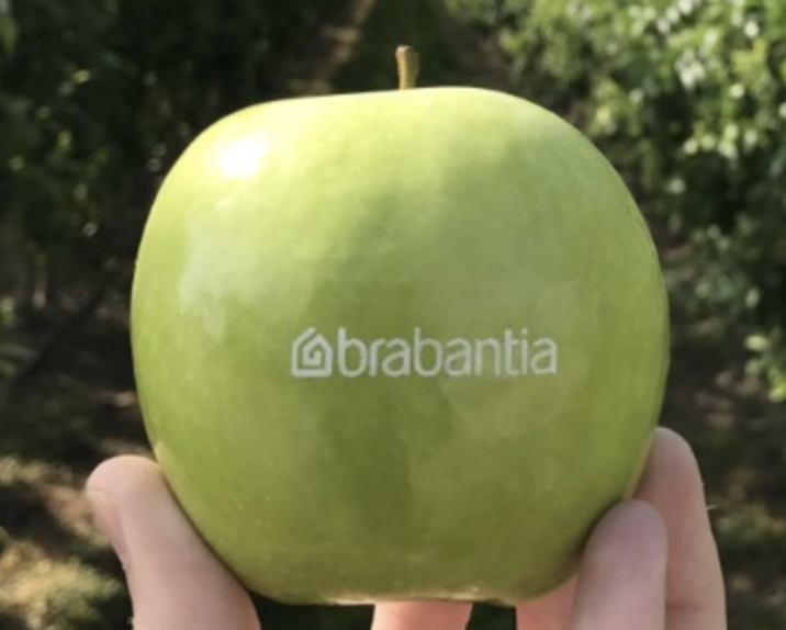 Logo printed on an apple
